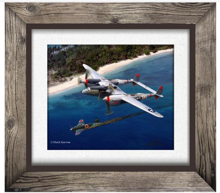 P-38  LIGHTNING--FAUX/PRINTED BIRCH WOOD FRAME