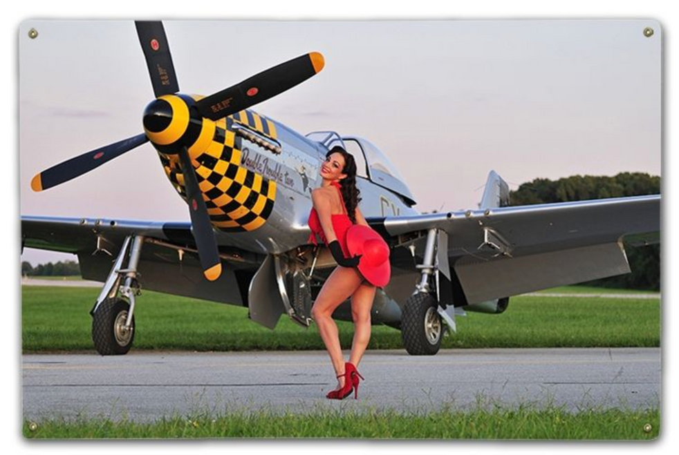 PIN-UP IN RED AND P-51 MUSTANG--METAL SIGN