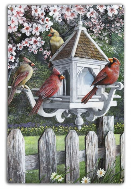 """""""A VISIT FROM THE CARDINALS""""  METAL  WALL  ART"""