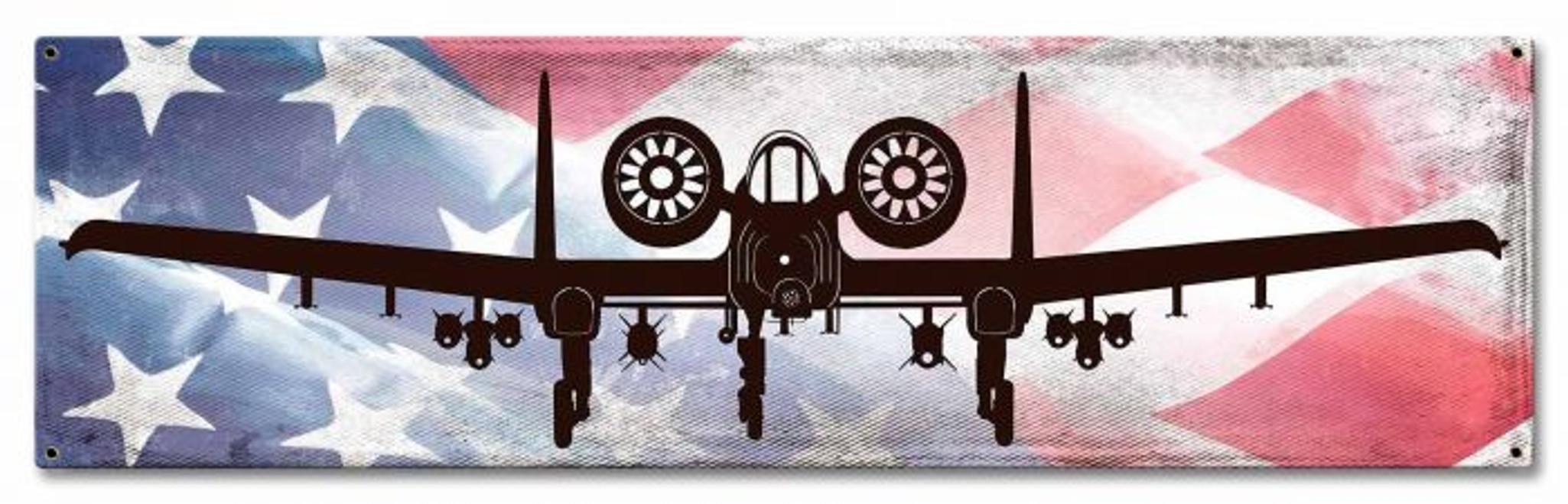 A10A Thunderbolt II  & American Flag  METAL SIGN