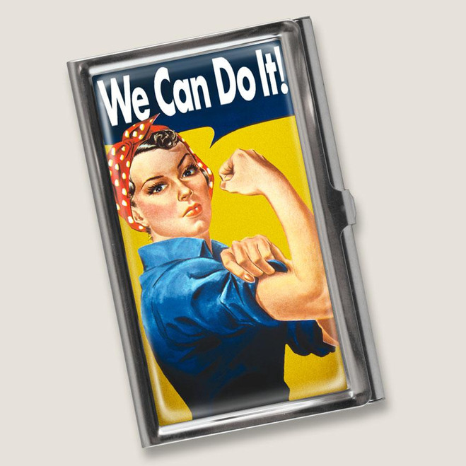 """""""WE CAN DO IT""""  MIRROR COMPACT OR BUSINESS / CREDIT CARD HOLDER"""