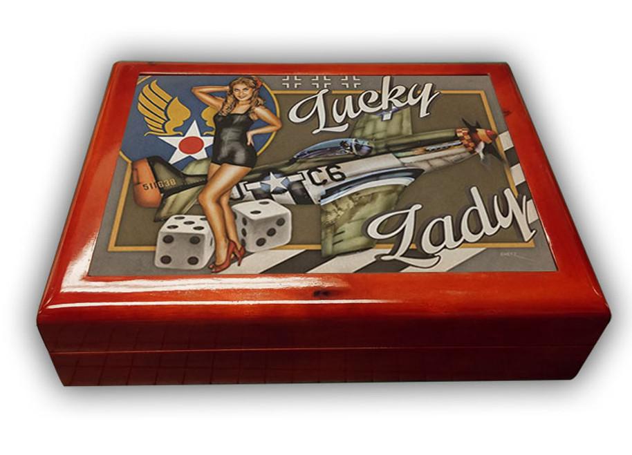 """LUCKY LADY -- 6"""" x 8"""" Mahogany Box"""