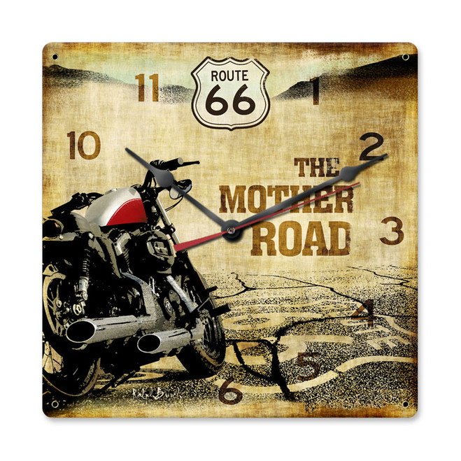 """""""ROUTE  66  & MOTORCYCLE--THE MOTHER  ROAD""""   CLOCK"""