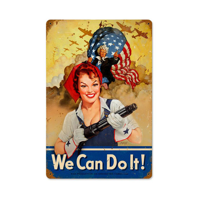 """WE  CAN  DO  IT""  METAL SIGN"