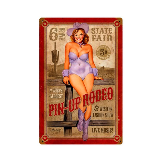 """PIN-UP  RODEO""   METAL SIGN"