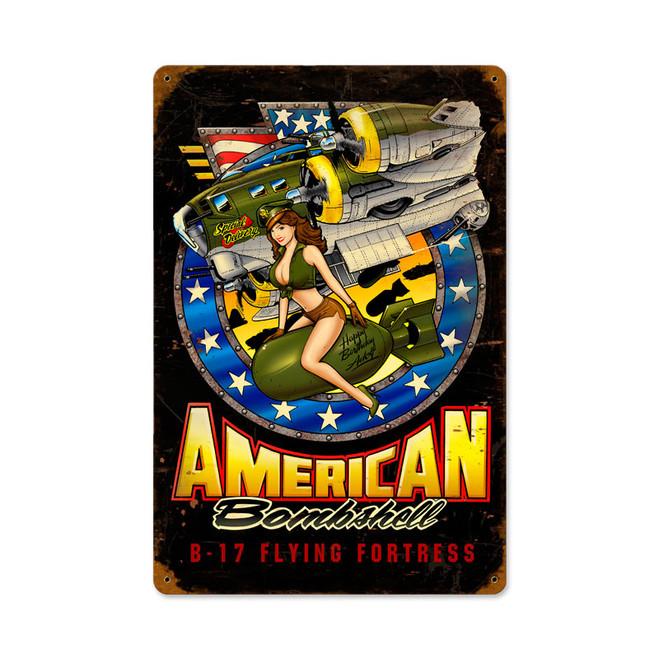 """ AMERICAN  BOMBSHELL""  METAL  SIGN"