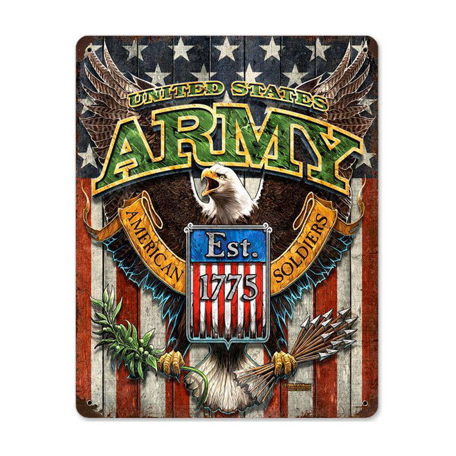 """ARMY FIGHTING  EAGLE""  METAL  SIGN"