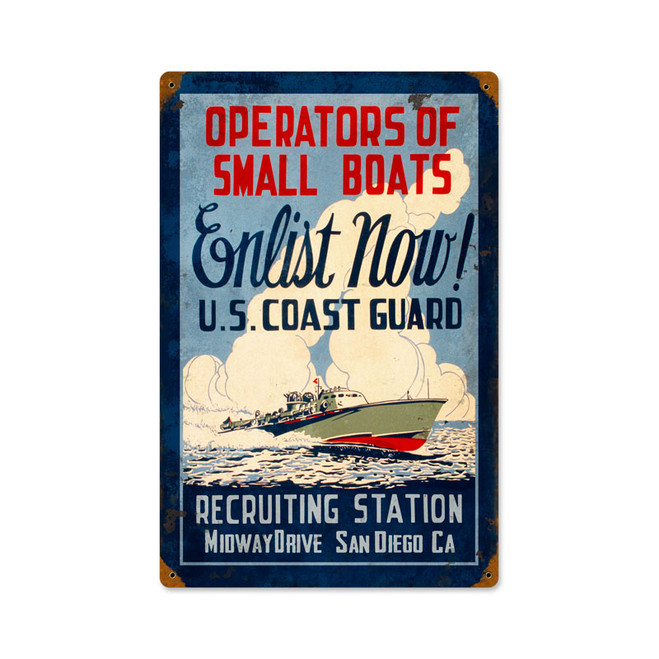 """COAST  GUARD  ENLIST"" METAL  SIGN"
