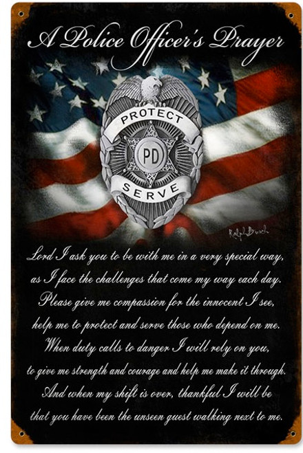 """POLICE OFFICER'S  PRAYER ""  METAL SIGN"