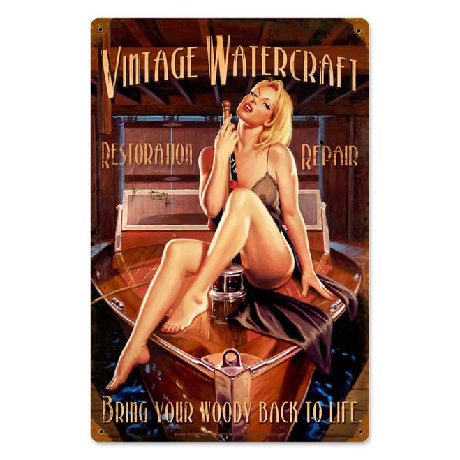 """""""VINTAGE  WATERCRAFT"""" METAL SIGN"""