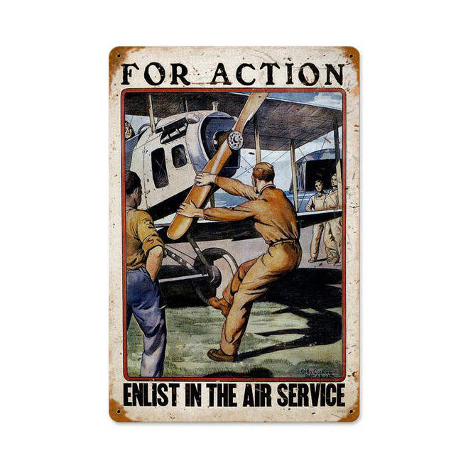 """FOR ACTION, ENLIST IN THE AIR SERVICE"" VINTAGE METAL SIGN"