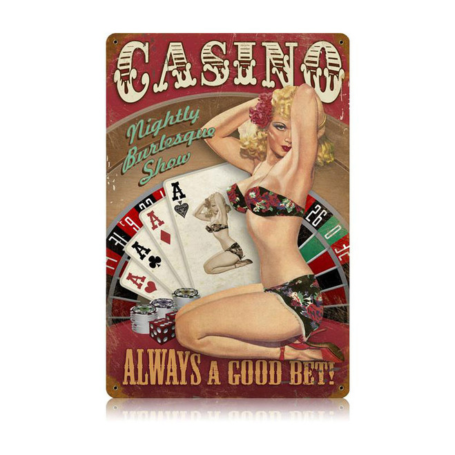 """CASINO  PIN-UP""  VINTAGE METAL SIGN"
