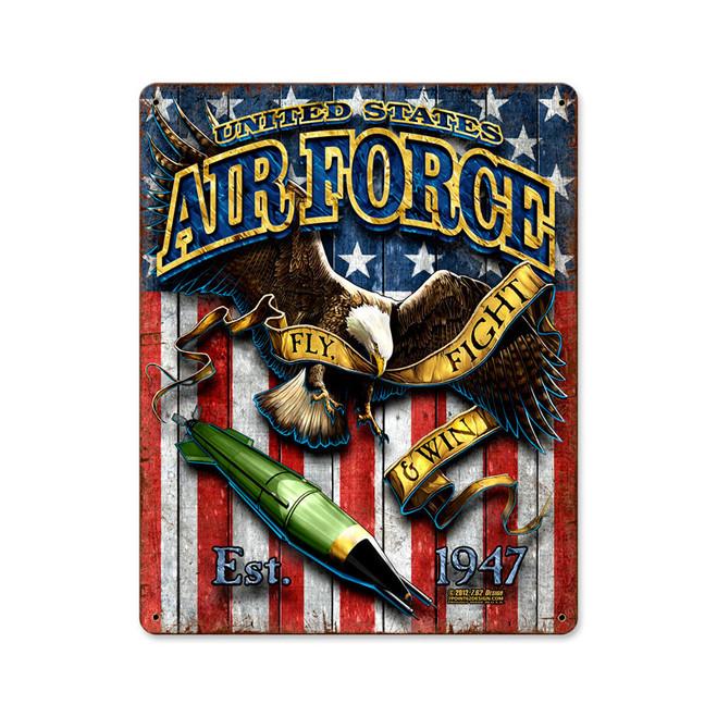 """""""USAF  FIGHTING EAGLE""""  VINTAGE  METAL  SIGN"""