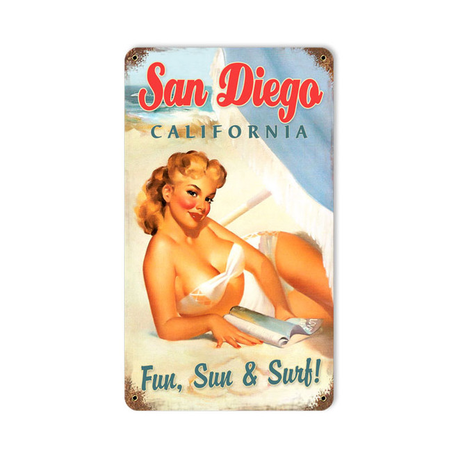 """SAN  DIEGO  PIN-UP""  VINTAGE METAL SIGN"