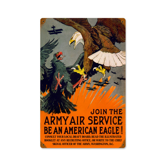 """JOIN THE ARMY AIR SERVICE"" VINTAGE METAL SIGN"