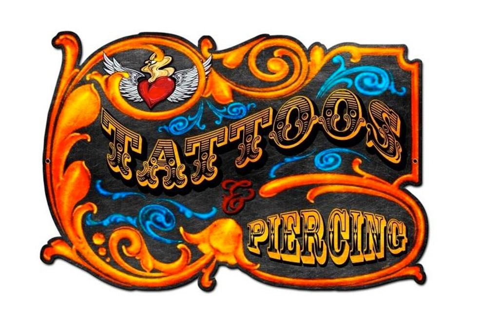 """TATTOOS   AND   PIERCING""   METAL  SIGN"