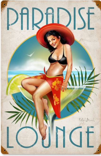 """PARADISE  LOUNGE""  METAL SIGN"
