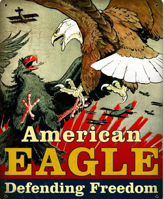 """AMERICAN  EAGLE  DEFENDING  FREEDOM"" METAL SIGN"