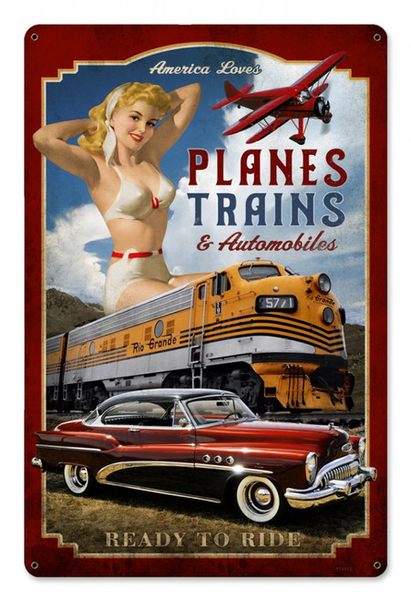 """PLANES, TRAINS, AND AUTOMOBILES""  VINTAGE METAL  SIGN"