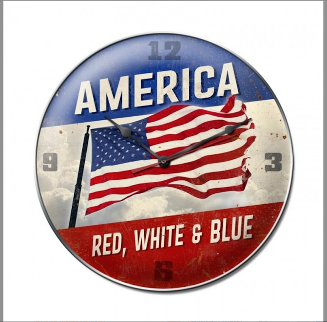 """""""AMERICA...RED, WHITE, AND BLUE"""" CLOCK"""
