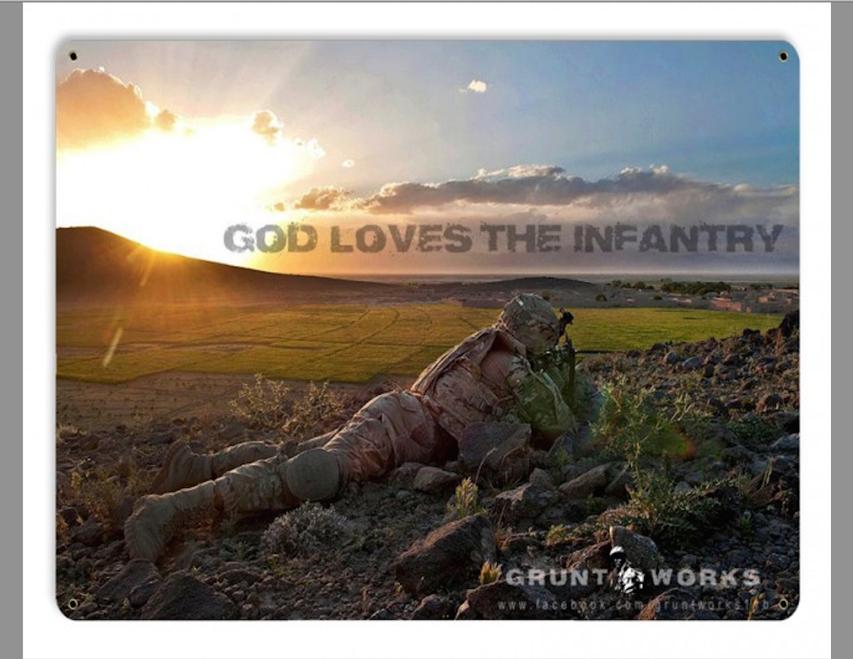 """""""GOD  LOVES  THE  INFANTRY""""  METAL SIGN"""