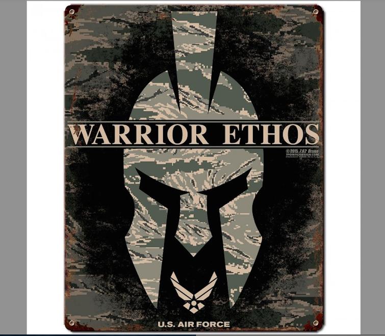 """""""USAF  WARRIOR  ETHOS""""  METAL SIGN"""