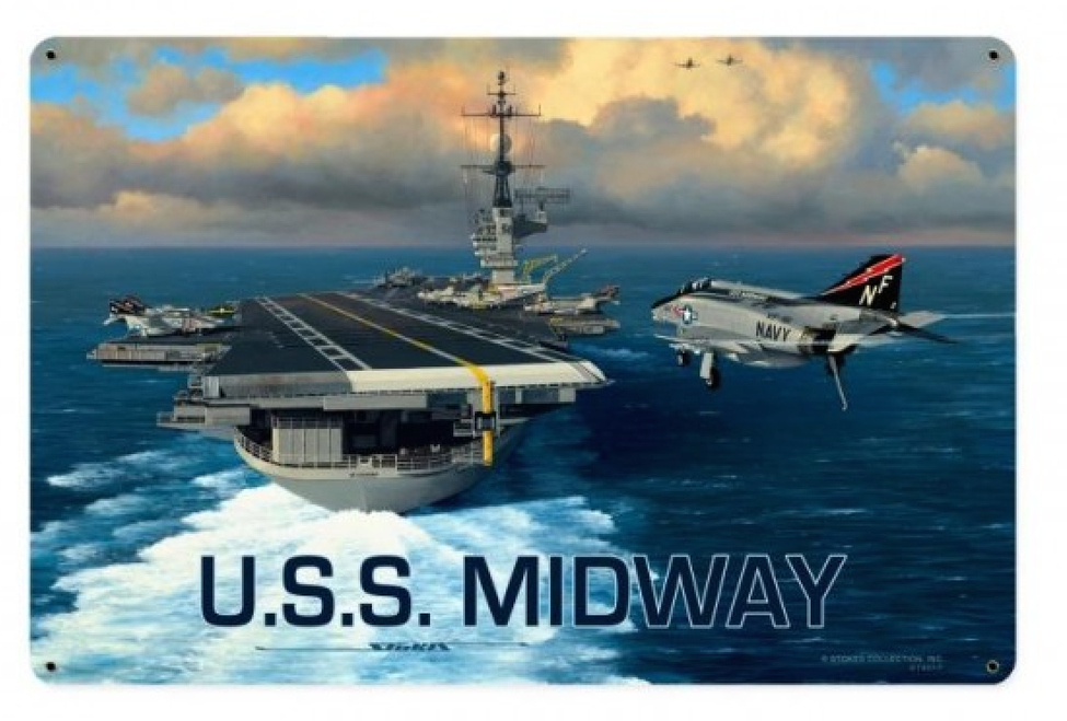"""USS  MIDWAY""  METAL  SIGN"