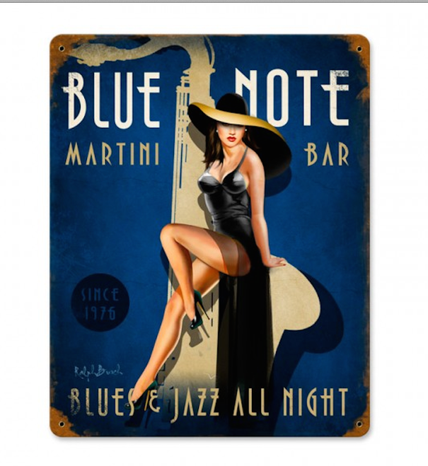"""BLUE NOTE""  JAZZ  CLUB  METAL  SIGN"