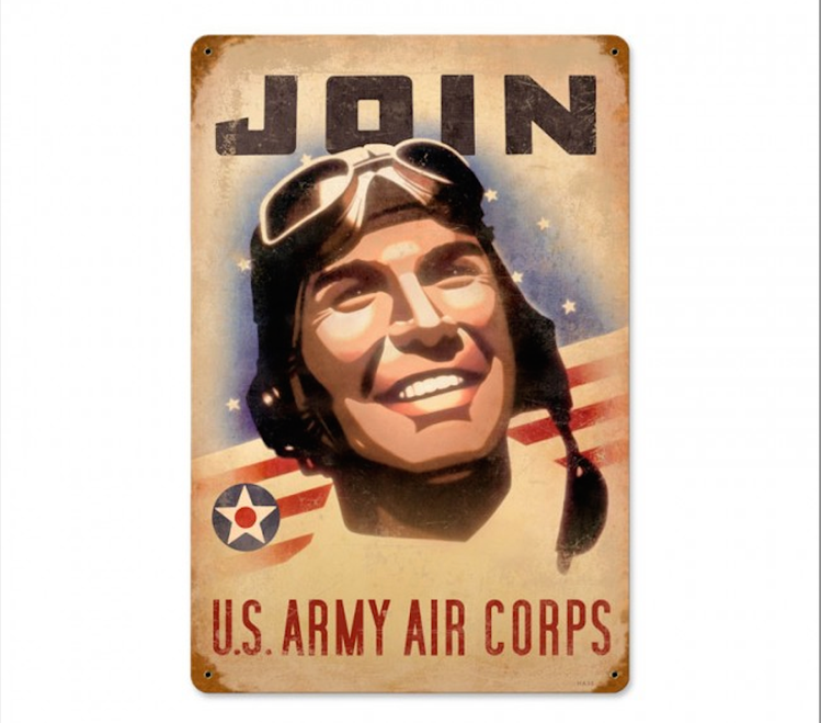 """""""JOIN  U.S.  ARMY  AIR  CORPS""""  VINTAGE  METAL SIGN"""