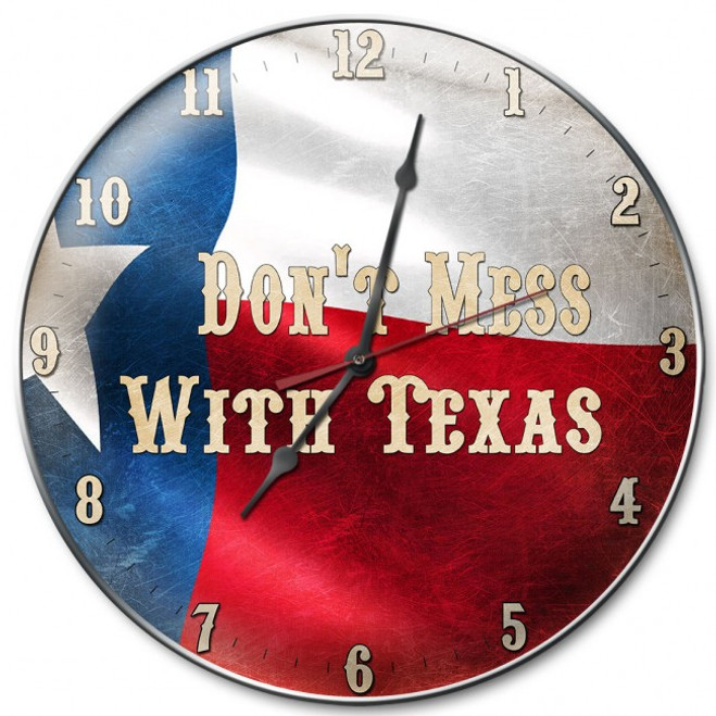 """""""DON'T MESS WITH TEXAS""""  FLAG CLOCK"""