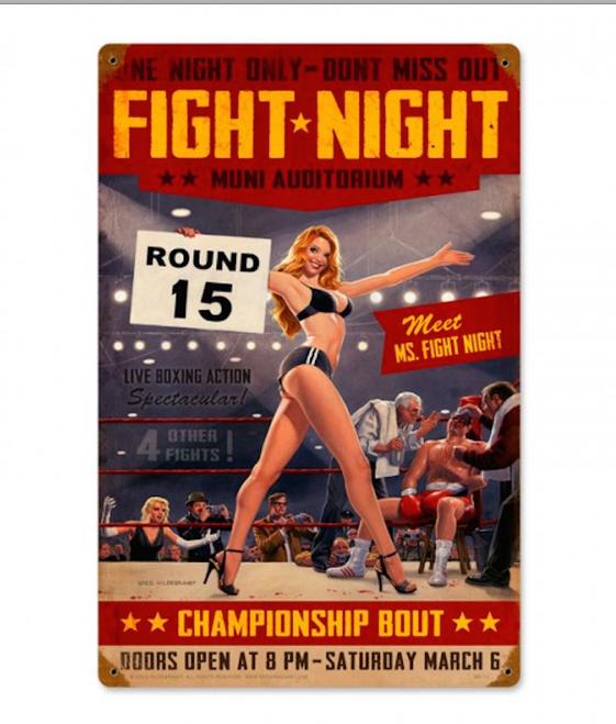 """FIGHT  NIGHT""  METAL  SIGN"