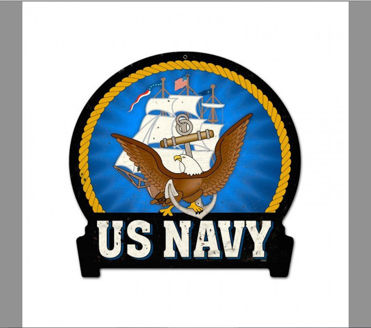 """US  NAVY  BANNER""  METAL  SIGN"