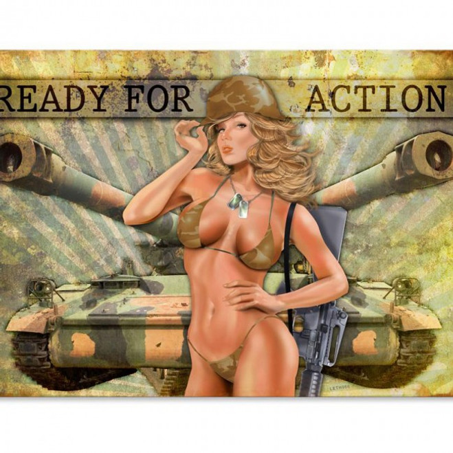 """""""READY  FOR  ACTION""""  METAL  SIGN"""