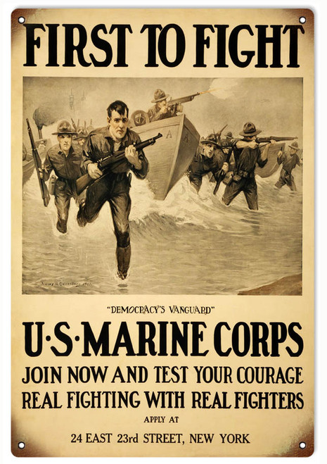 """U.S. MARINE CORPS VINTAGE RECRUITING POSTER""  METAL SIGN"