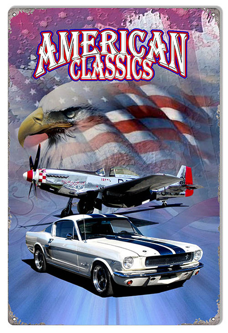 """""""AMERICAN CLASSICS  WITH MUSTANG"""" METAL SIGN"""