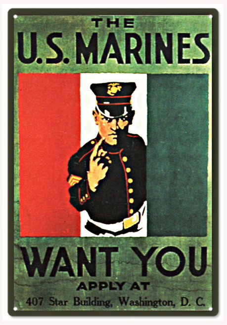 """US MARINES WANT YOU"" RECRUITING MILITARY  METAL SIGN"