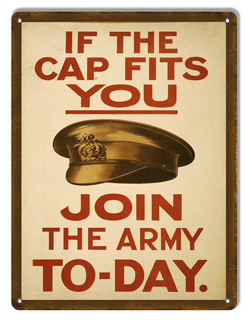 """""""IF THE CAP FITS--U.S. ARMY"""" RECRUITMENT METAL SIGN"""