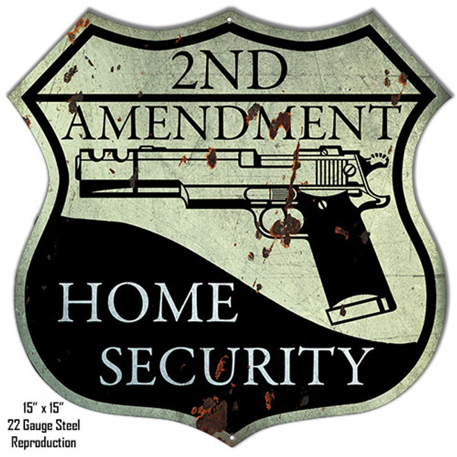 """DISTRESSED REPRODUCTION 2ND AMENDMENT""  METAL SIGN"