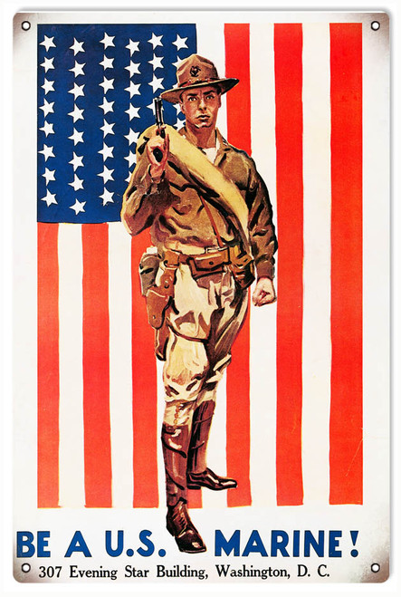 """""""BE  A  U.S.  MARINE""""  REPRODUCTION  METAL  SIGN"""
