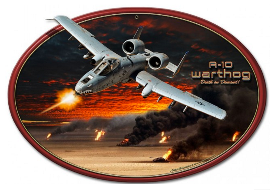 """A-10 Warthog""   Metal  Oval  Sign"