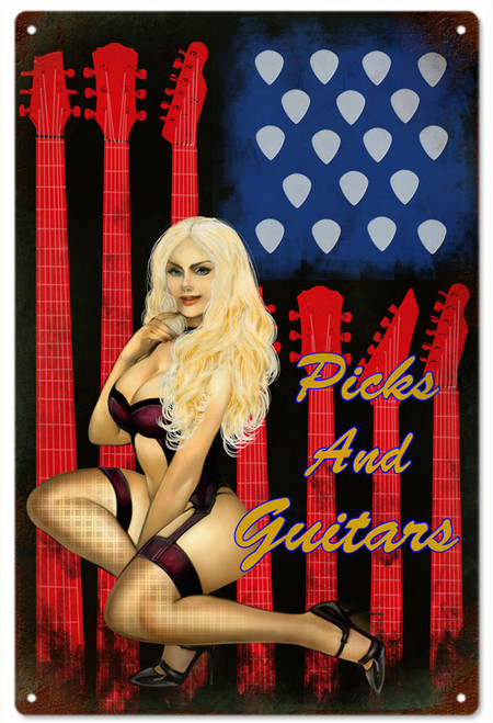 """Picks, Guitars, and Pin-Up""  Metal  Sign"