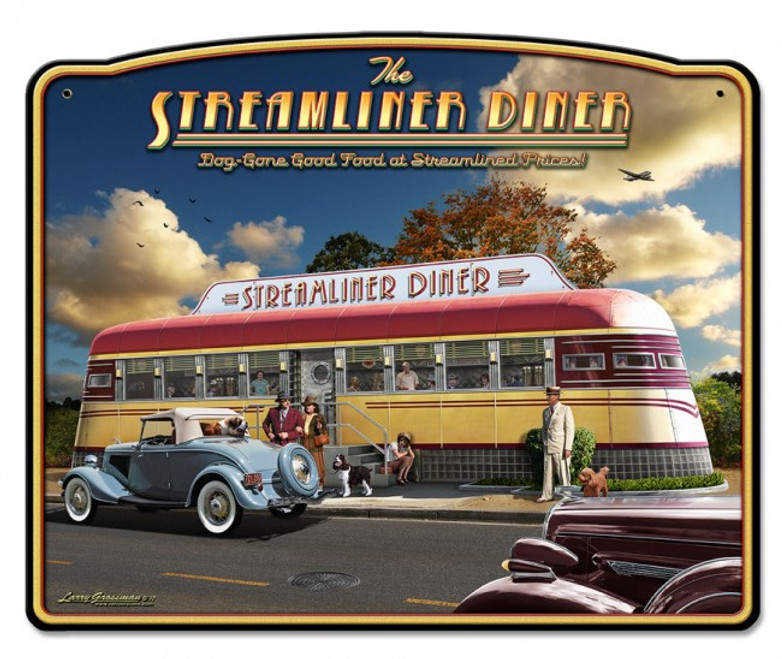 """STREAMLINER  DINER""  METAL  SIGN"