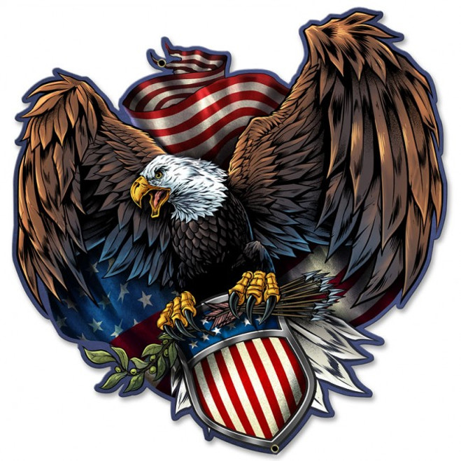 """EAGLE AND U.S. SHIELD"" METAL  SIGN"