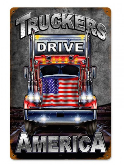 """TRUCKERS  DRIVE  AMERICA""  METAL  SIGN"