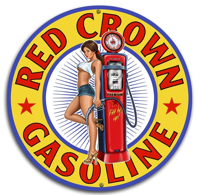 """""""RED CROWN GAS""""  ROUND  METAL  SIGN"""
