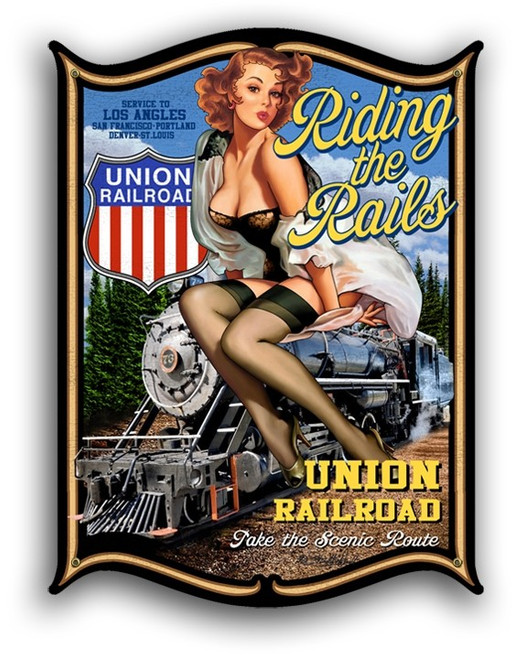 """""""RIDING THE RAILS"""" PIN UP GIRL  METAL SIGN"""