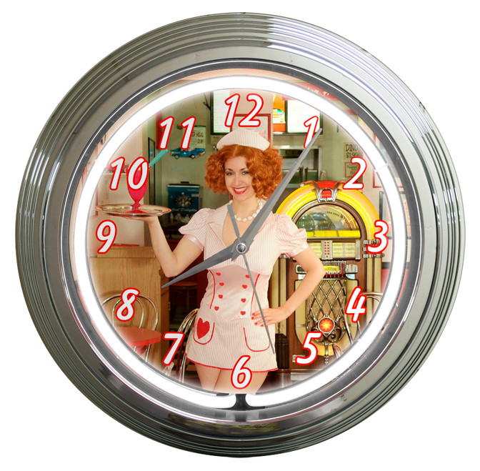 """GINA ELISE  SERVING  OUR  VETS""  NEON AND CHROME CLOCK"