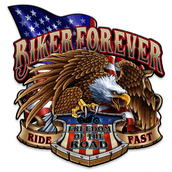 """BIKER  FOREVER  WITH EAGLE""  METAL  SIGN"