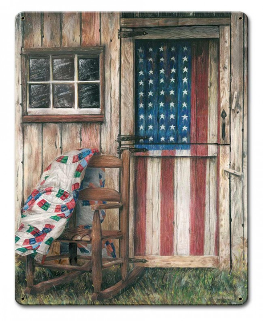 """""""AMERICANA  WITH FLAG AND ROCKING CHAIR""""  METAL  SIGN"""