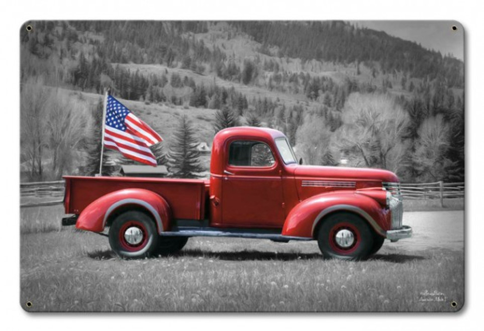 """""""AMERICAN  TRUCK  AND  FLAG""""   Metal  Sign"""